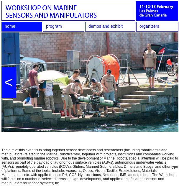 Workshop on Marine Sensors and Manipulators